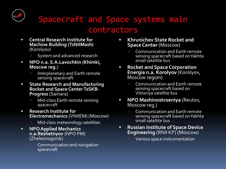 Spacecraft and Space systems main contractors