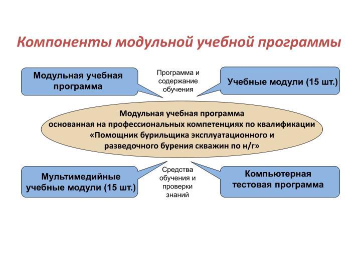 Компоненты модульной учебной программы