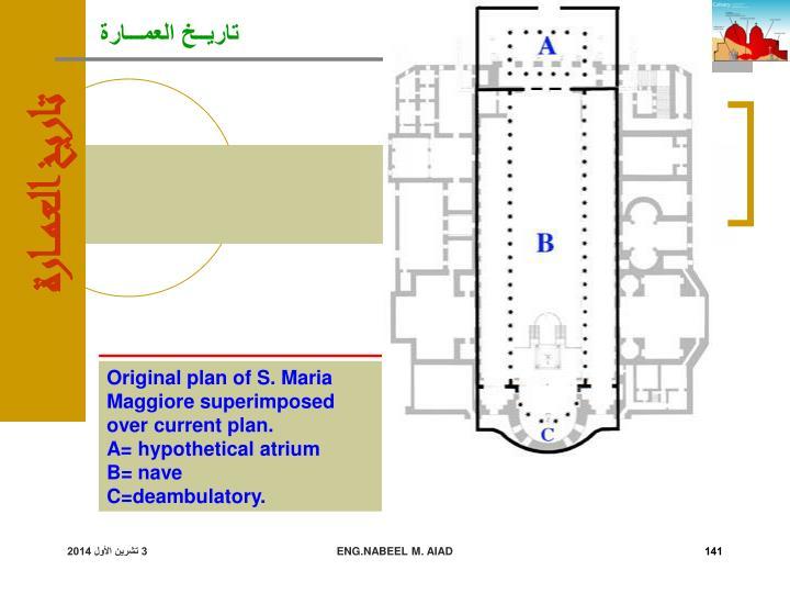 Original plan of S. Maria Maggiore superimposed over current plan.
