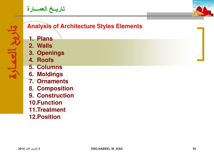 Analysis of Architecture Styles Elements