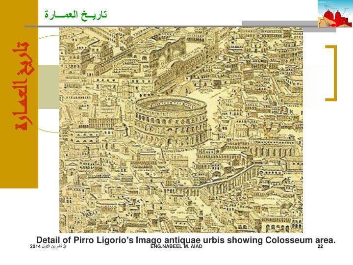 Detail of Pirro Ligorio's Imago antiquae urbis showing Colosseum area.