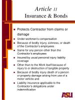 article 11 insurance bonds