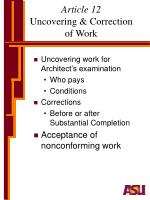 article 12 uncovering correction of work