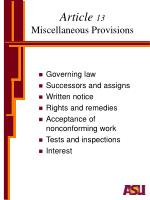 article 13 miscellaneous provisions