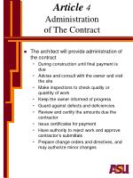 article 4 administration of the contract
