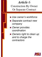 article 6 construction by owner or separate contract