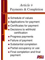 article 9 payments completion