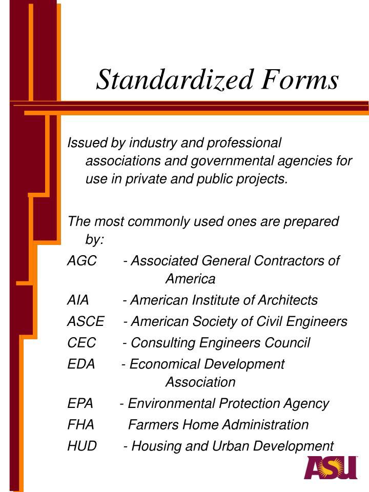 Standardized Forms