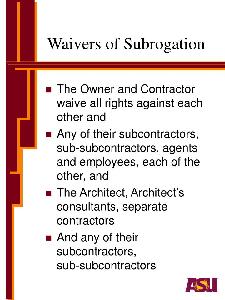 Waivers of Subrogation