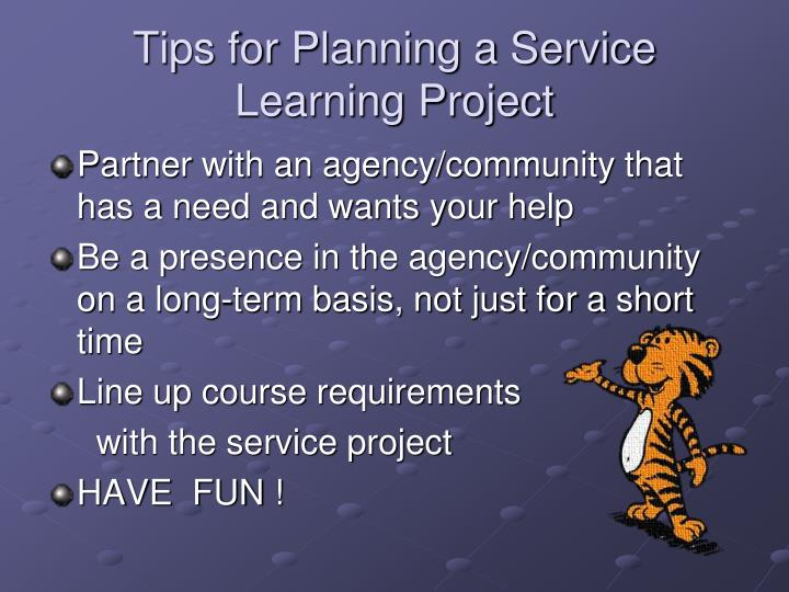 Tips for Planning a Service Learning Project