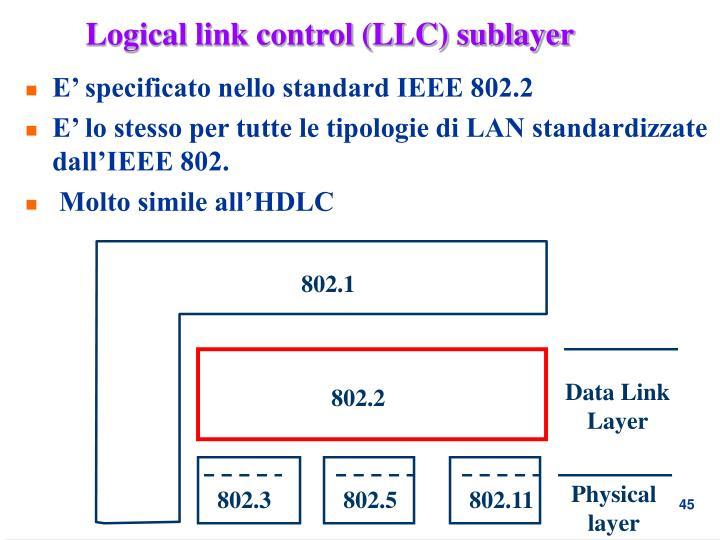 Logical link control (LLC) sublayer
