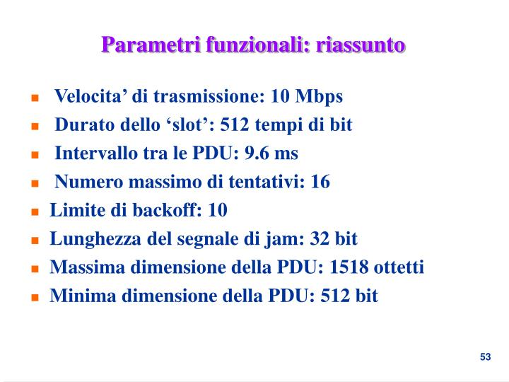 Velocita' di trasmissione: 10 Mbps