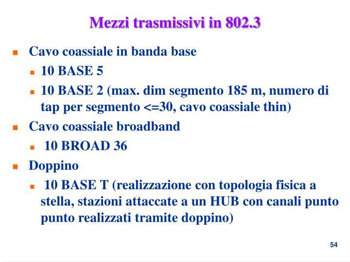 Mezzi trasmissivi in 802.3