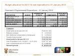 budget allocation for 2011 12 and expenditure to 31 january 2012