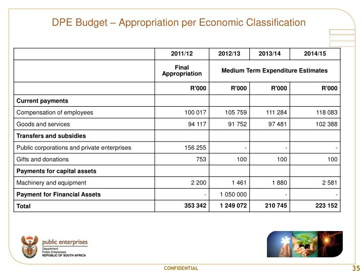 DPE Budget – Appropriation per Economic Classification
