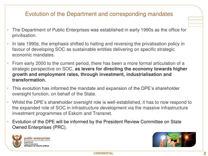 Evolution of the Department and corresponding mandates