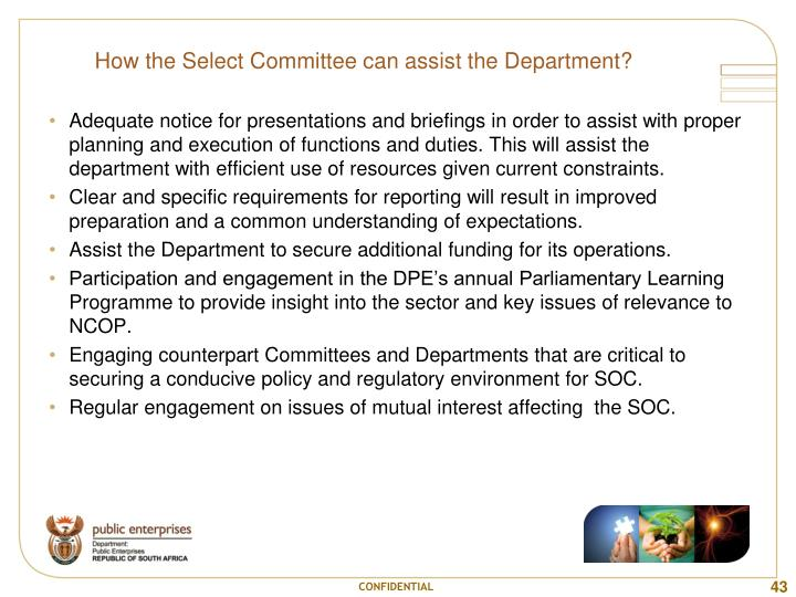 How the Select Committee can assist the Department?