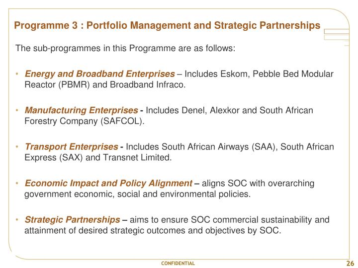 Programme 3 : Portfolio Management and Strategic Partnerships