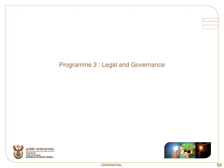 Programme 3 : Legal and Governance