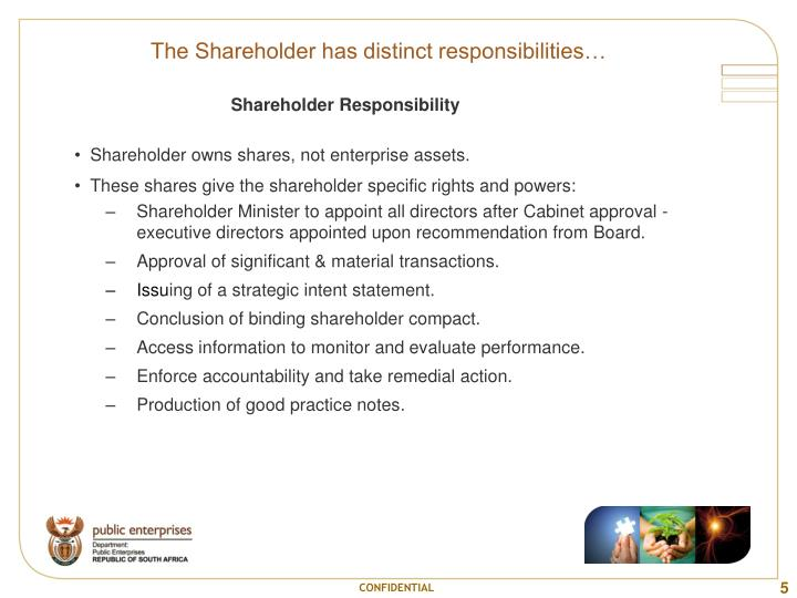 The Shareholder has distinct responsibilities…