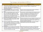 top strategic risks identified in dpe 2