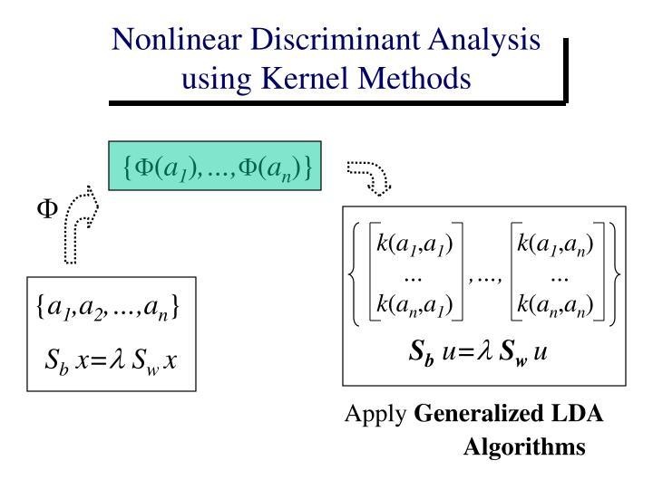 Nonlinear Discriminant Analysis      using Kernel Methods