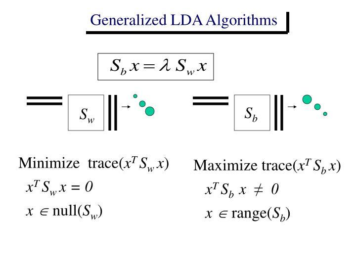 Generalized LDA Algorithms