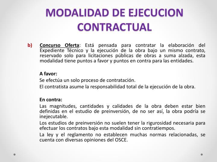 MODALIDAD DE EJECUCION CONTRACTUAL