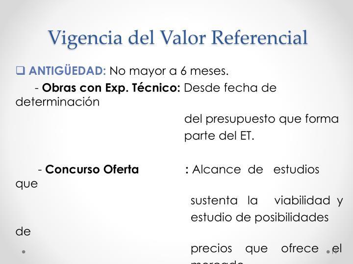 Vigencia del Valor Referencial