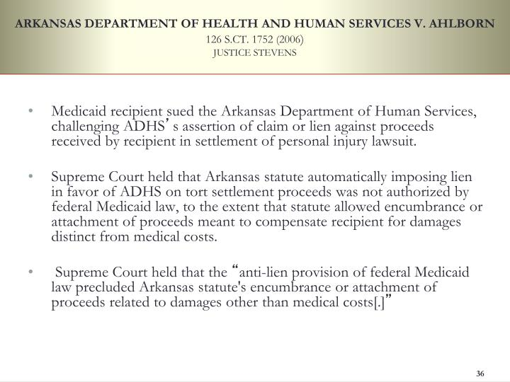 ARKANSAS DEPARTMENT OF HEALTH AND HUMAN SERVICES V. AHLBORN