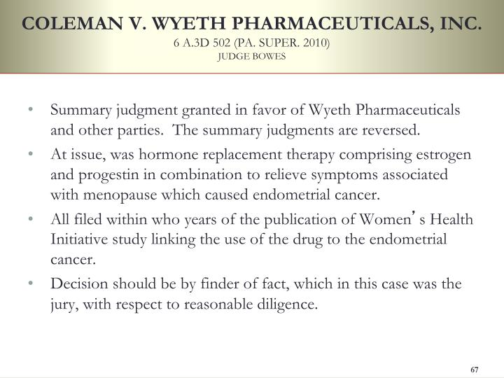 COLEMAN V. WYETH PHARMACEUTICALS, INC.