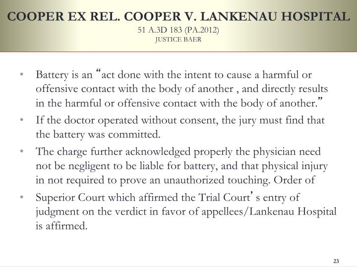 COOPER EX REL. COOPER V. LANKENAU HOSPITAL