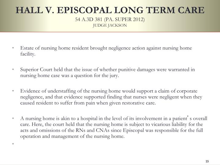 HALL V. EPISCOPAL LONG TERM CARE