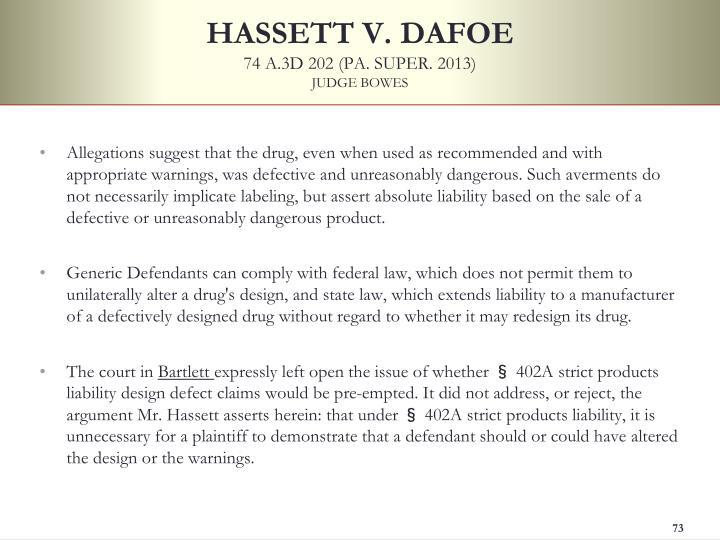 HASSETT V. DAFOE
