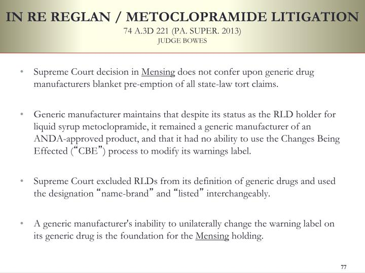 IN RE REGLAN / METOCLOPRAMIDE LITIGATION