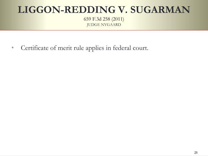 LIGGON-REDDING V. SUGARMAN