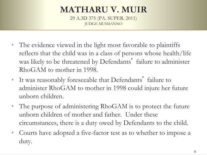 MATHARU V. MUIR