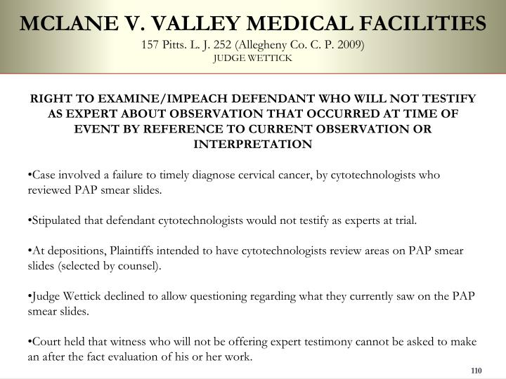 MCLANE V. VALLEY MEDICAL FACILITIES