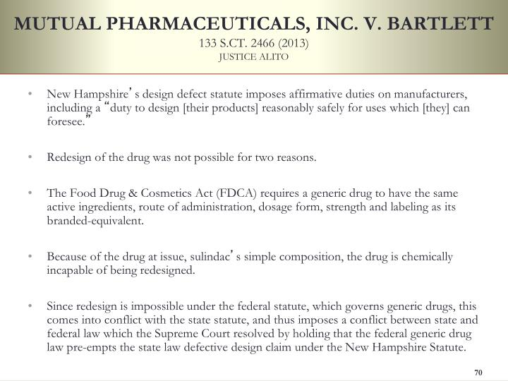 MUTUAL PHARMACEUTICALS, INC. V. BARTLETT