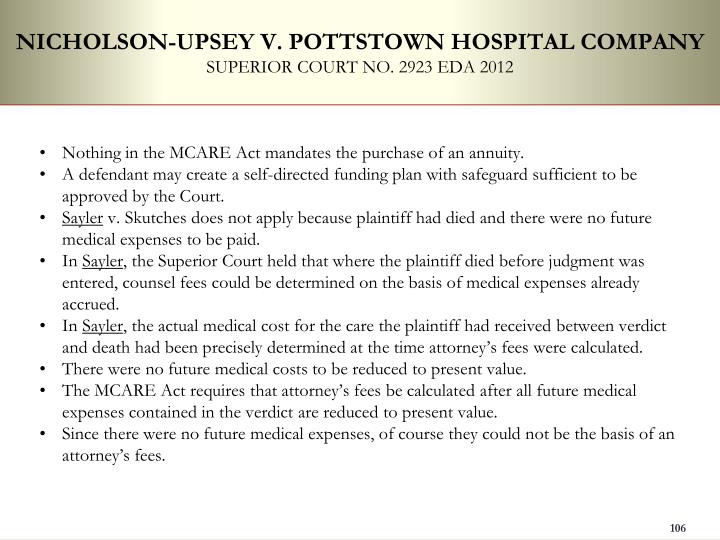 NICHOLSON-UPSEY V. POTTSTOWN HOSPITAL COMPANY