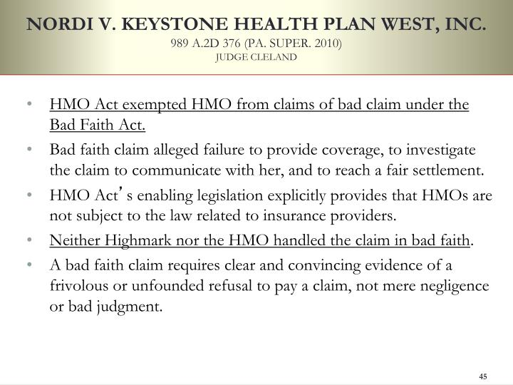 NORDI V. KEYSTONE HEALTH PLAN WEST, INC.