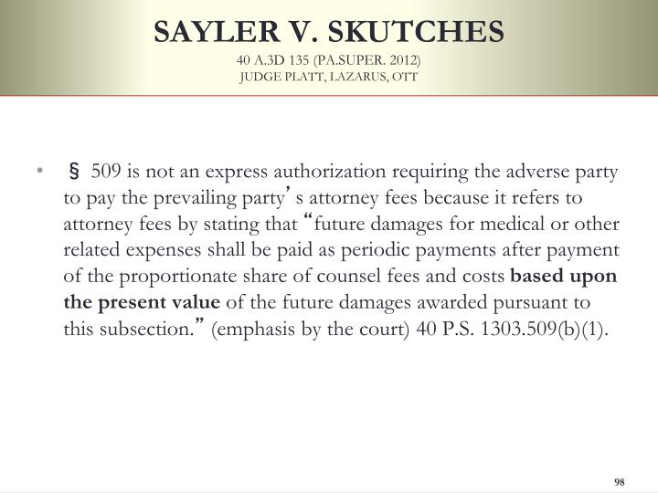 SAYLER V. SKUTCHES