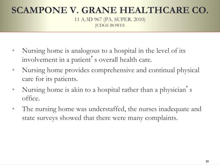 SCAMPONE V. GRANE HEALTHCARE CO.