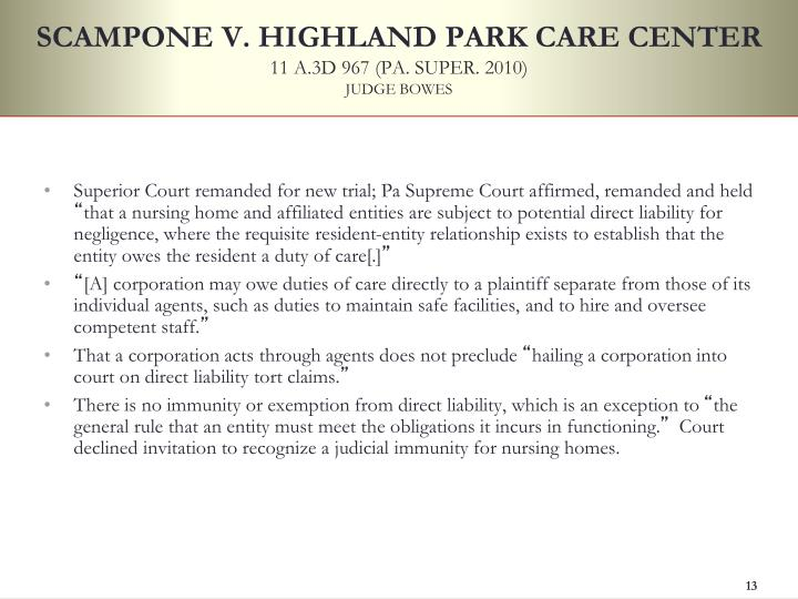 SCAMPONE V. HIGHLAND PARK CARE CENTER