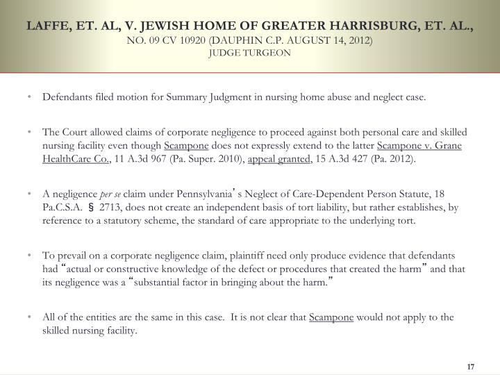 LAFFE, ET. AL, V. JEWISH HOME OF GREATER HARRISBURG, ET. AL.,