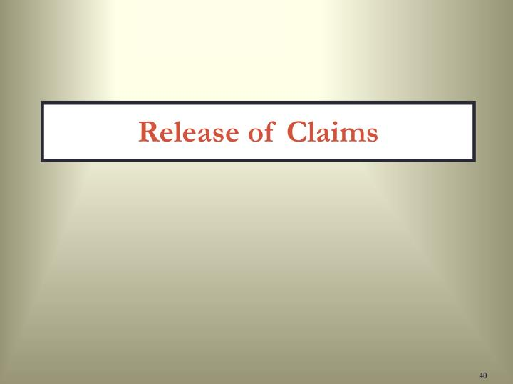Release of Claims