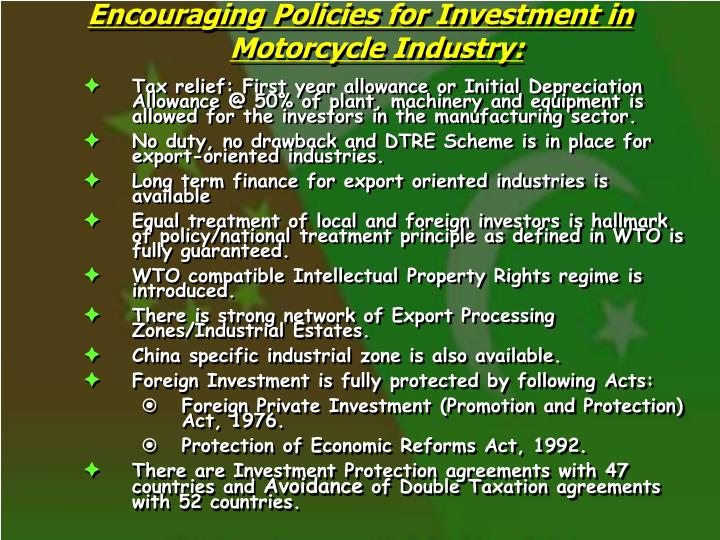 Encouraging Policies for Investment in