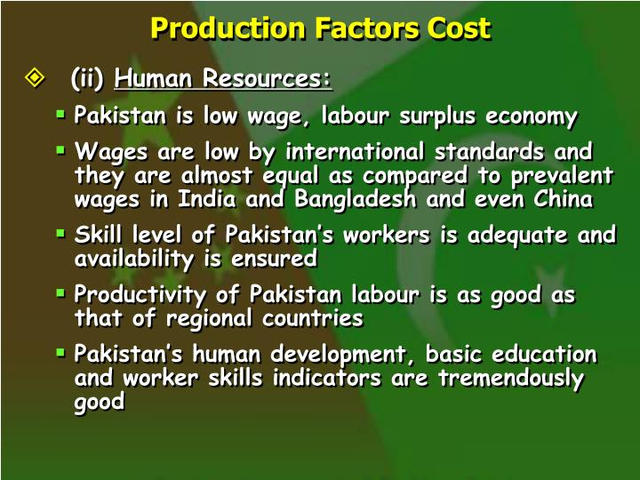 Production Factors Cost