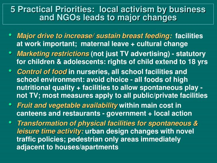 5 Practical Priorities:  local activism by business and NGOs leads to major changes