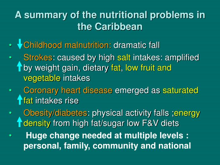 A summary of the nutritional problems in the caribbean